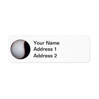 Béisbol/softball blancos y negros etiqueta de remite