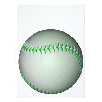 Béisbol verde claro de las puntadas invitación 13,9 x 19,0 cm
