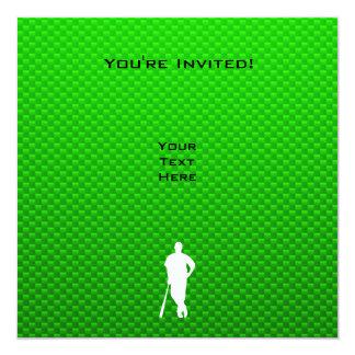 Béisbol verde invitación 13,3 cm x 13,3cm