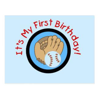 Béisbol y 1ras camisetas y regalos del cumpleaños postal