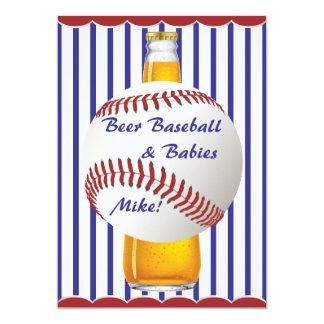 Béisbol y bebés de la cerveza de la ducha del papá invitación 12,7 x 17,8 cm