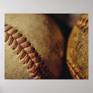 Béisboles del vintage póster