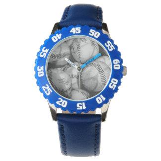 Béisboles en blanco y negro reloj de mano