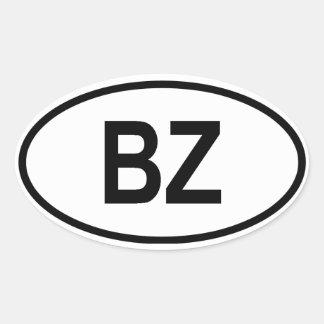 "Belice ""BZ "" Pegatina Ovalada"