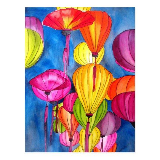 Bella arte china del watercolour de las linternas postal