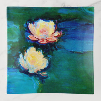 Bella arte de Claude Monet de dos de agua flores