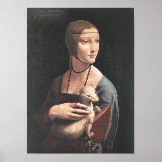 Bella arte de da Vinci del ermellino de la estafa Póster