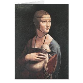 Bella arte de da Vinci del ermellino de la estafa Tarjeta Pequeña