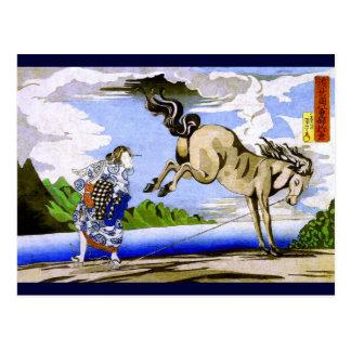 bella arte de Kuniyoshi de la mujer y del caballo Postal