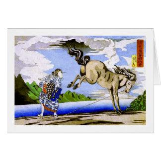 bella arte de Kuniyoshi de la mujer y del caballo Tarjeta