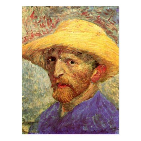Bella arte de Van Gogh del gorra de paja del Postal