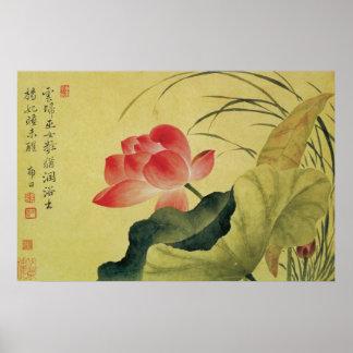 Bella arte del chino de la flor de Lotus
