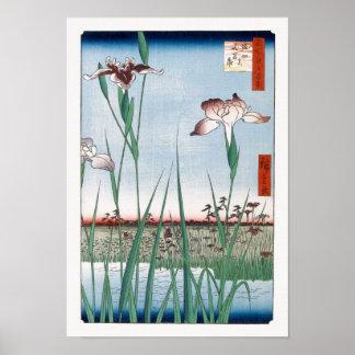Bella arte del japonés de Hiroshige del jardín del