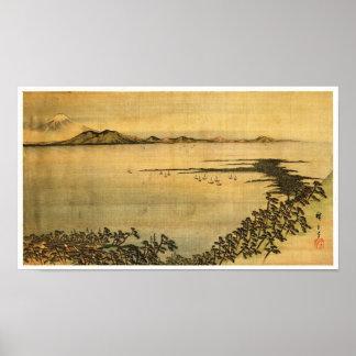 Bella arte del japonés de Hiroshige del paisaje
