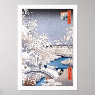 Bella arte del japonés de Hiroshige del puente del
