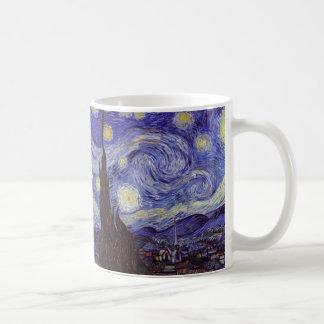 Bella arte del vintage de la noche estrellada de taza básica blanca