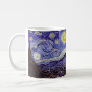 Bella arte del vintage de la noche estrellada de taza de café