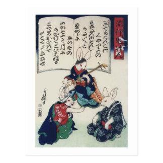 bella arte epidémica de Kuniyoshi del conejo de Postal