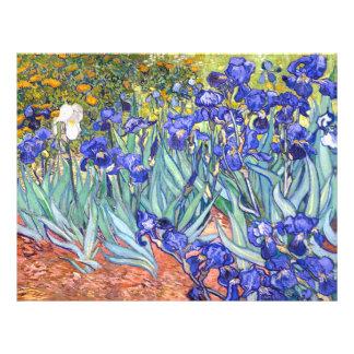 Bella arte floral del vintage de los iris de folleto 21,6 x 28 cm