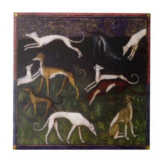Bella arte medieval de los galgos azulejo cuadrado pequeño