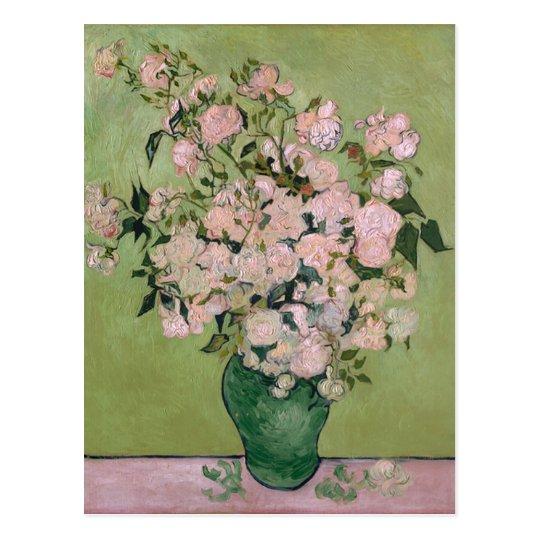 Bella arte rosada de Van Gogh de los rosas (F682) Postal