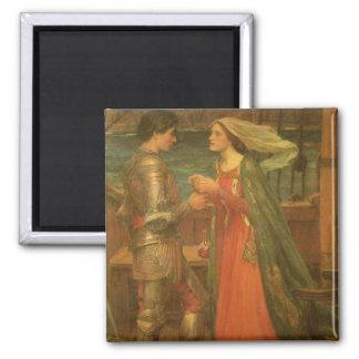 Bella arte, Tristan e Isolda del vintage por el Imán Cuadrado