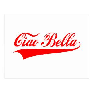 bella del ciao, saludo italiano, diseño del texto postal