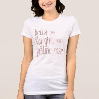 Bella y chica y almendra garapiñada de la mosca camiseta