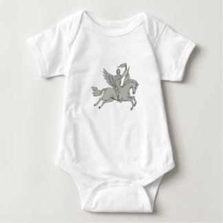 Bellerophon que monta Pegaso que sostiene el Body Para Bebé