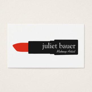 Belleza blanca simple del logotipo del lápiz tarjeta de negocios