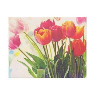Belleza de la flor del tulipán floral lienzo
