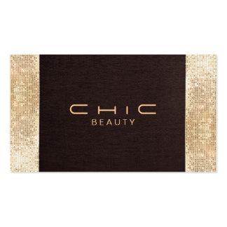 Belleza de lino festiva de la lentejuela del oro tarjetas de visita