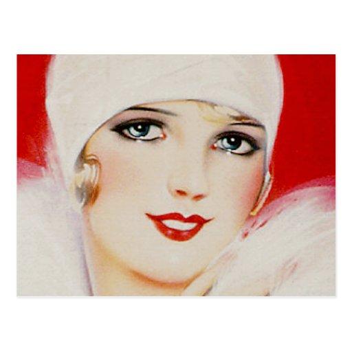 Belleza de los años 20 en blanco y rojo tarjetas postales