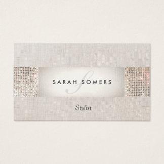 Belleza de plata moderna elegante del monograma de tarjeta de visita