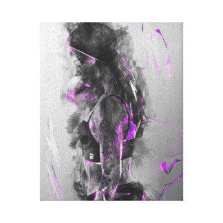 Belleza eléctrica de la lluvia púrpura impresión en lienzo