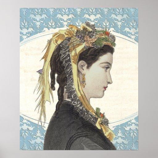 Belleza exquisita del Victorian en perfil Poster