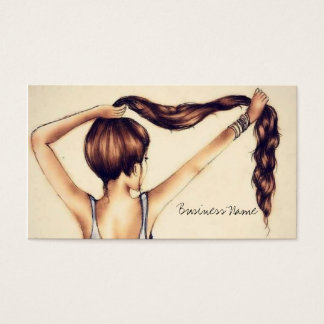 Belleza larga del pelo tarjeta de visita
