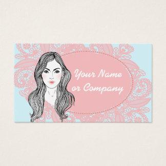 Belleza, maquillaje y cordón tarjeta de negocios