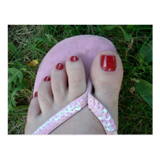 Belleza pulida de los dedos del pie o postales del