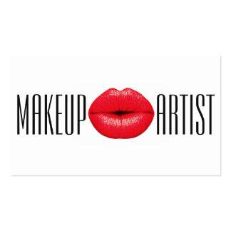 Belleza roja de la cosmetología del artista de tarjetas de visita