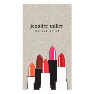 Belleza y collage del lápiz labial en el falso lin plantillas de tarjetas personales