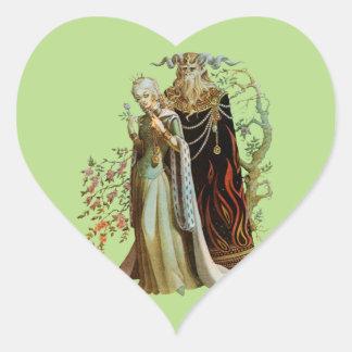 Belleza y la bestia pegatina en forma de corazón