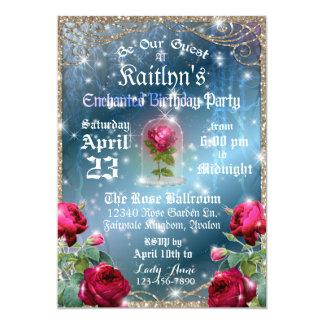 Belleza y la fiesta de cumpleaños del rosa rojo de invitación 12,7 x 17,8 cm