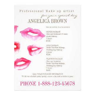 Belleza y plantilla del aviador del maquillaje folleto 21,6 x 28 cm