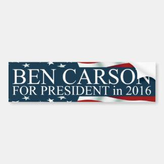 Ben Carson para el presidente en 2016 Pegatina Para Coche