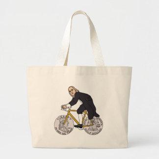 Ben Franklin en una bici con las ruedas del medio Bolso De Tela Gigante