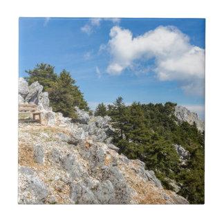 Bench en la montaña rocosa con los árboles y el azulejo