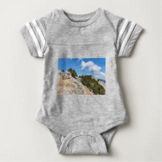Bench en la montaña rocosa con los árboles y el body para bebé