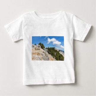 Bench en la montaña rocosa con los árboles y el camiseta de bebé