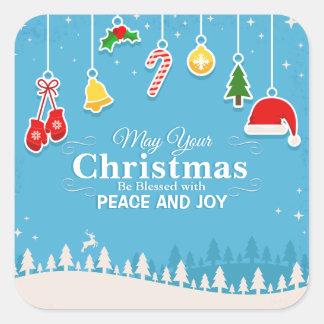 Bendecido con el sello del pegatina del navidad el